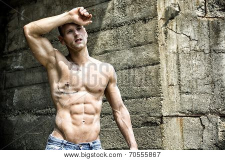 Handsome, Muscular Young Construction Worker Shirtless