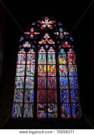 Stained-glass Window In The St. Vitus Cathedral, Praha, Czech Republic