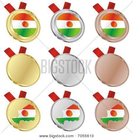 niger vector flag in medal shapes