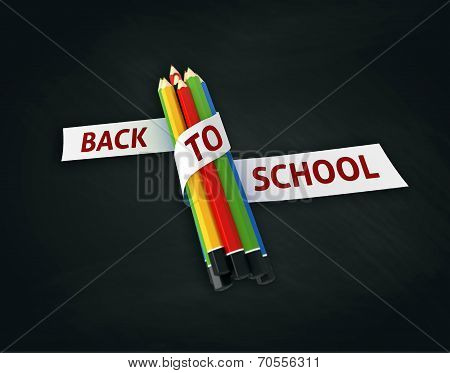 Welcome Back To School Embroidered On Ribbon On Colorful Crayons Chalkboard