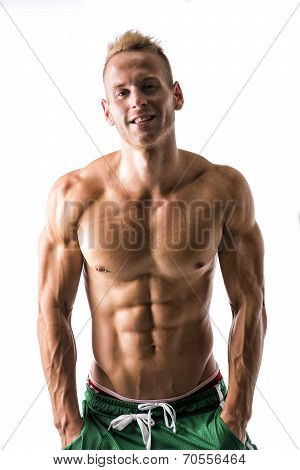 Sexy Muscular Blond Shirtless Male Model Smiling