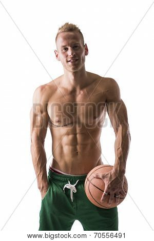 Muscular Blond Shirtless Male Model With Basketball Ball