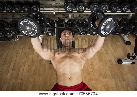 Portrait Of A Muscular Man Lifting Weights At The Gym