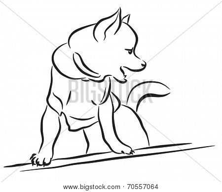 Editable vector line art sketch of a toy dog wearing a shirt