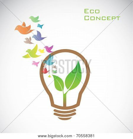 Vector bulb and birds and leaves