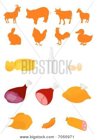 Set of farm animals and food industry products