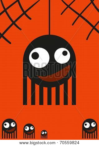 Cute monsters, spiders on web, halloween card
