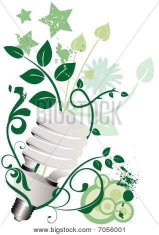 Economical light bulb with floral grunge background