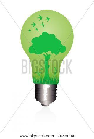 Illustration of a ecological light bulb