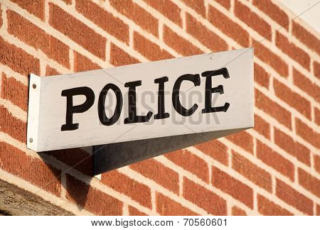 Police station sign in a small rural town