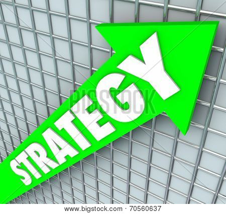 Strategy word on a green arrow rising, improving and increasing results