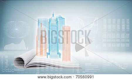 Hi-tech Building On Blue Background