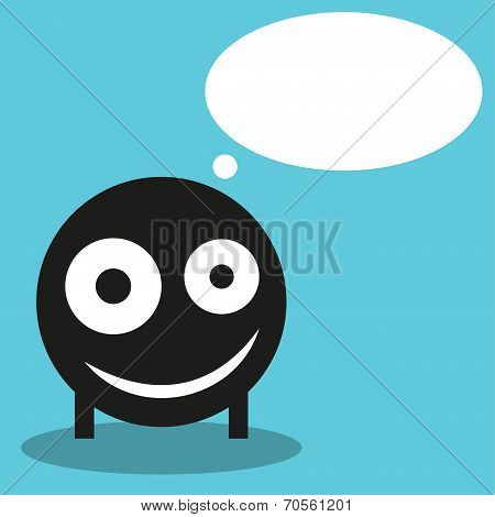 Cute monster with speech balloon, vector