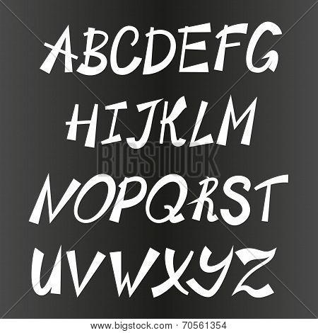 Handwriting stylish alphabet, vector hand drawn