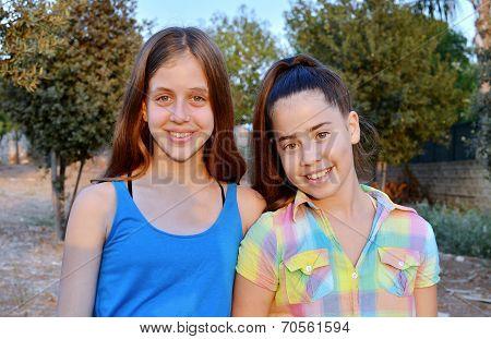 Two Best Friend Girls Smiling