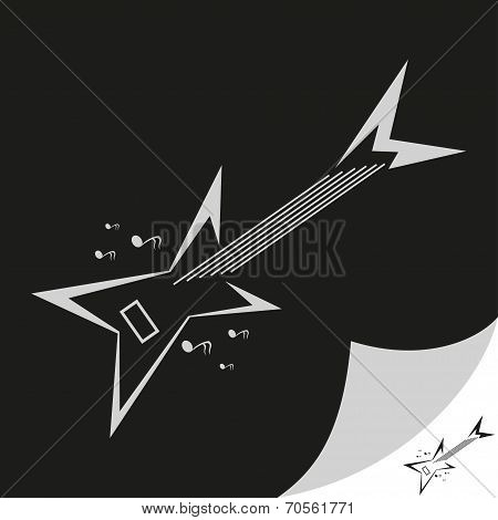 Musical instruments store icon with guitar, band icon