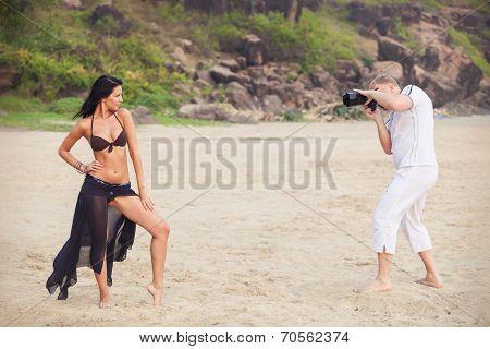 Brunette Girl And Man In White