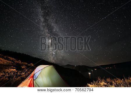 Milky Way Above Tent At Night.