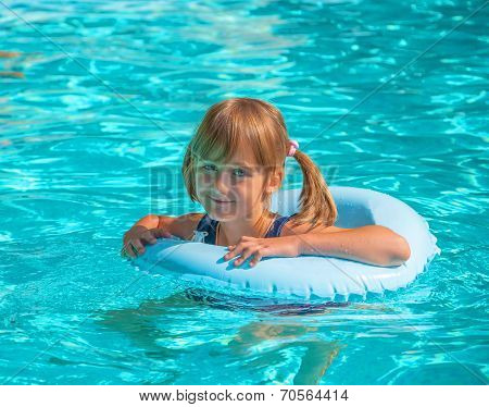 female child in the pool