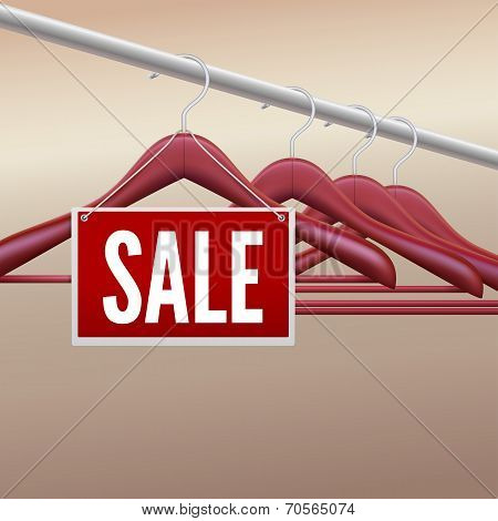 Wooden clothes hangers with sale label