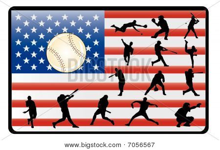 baseball player over the american flag