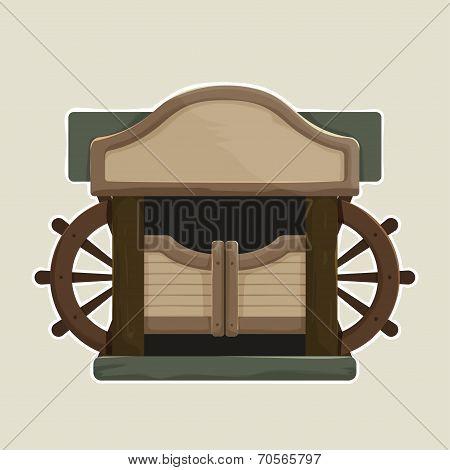 Cartoon styled Old Western Swinging Saloon Doors