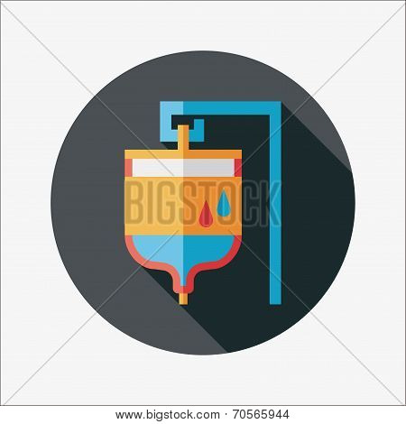 Iv Bag Flat Icon With Long Shadow