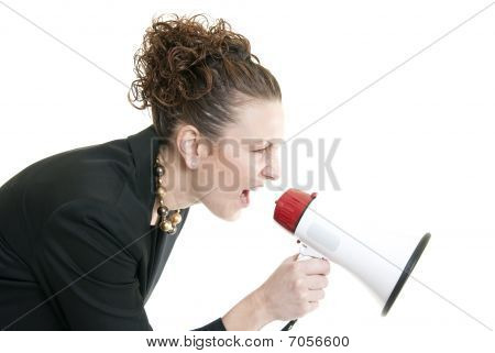 Business Woman Yelling Into A Bullhorn