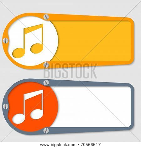 Set Of Two Boxes For Any Text With Music Symbol