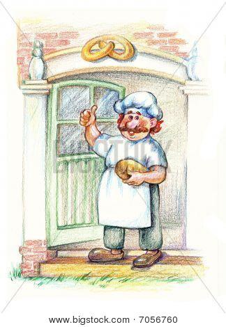 Baker In White Apron