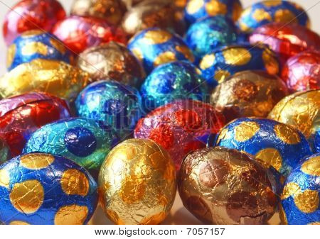Background Of Colorful Chocolate Eggs