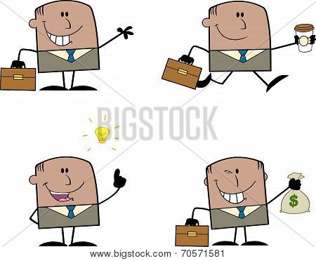 Businessman Dude Cartoon Character 2  Collection Set