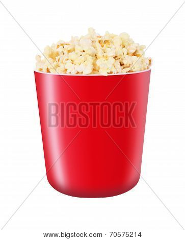 Popcorn in red bucket on white background.