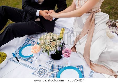 Honeymooners Joined Hands And Sitting On A Picnic In The Park