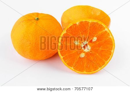 Mandarin Orange Fruit On White Background - Isolated