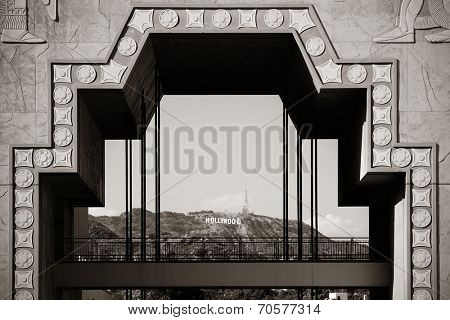 Los Angeles, CA - MAY 18: Hollywood sign through Dolby Theatre on May 18, 2014 in Los Angeles. Started as a small community, it evolved into the home of world famous film industry