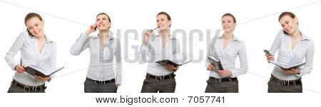 Attractive Busiiness Woman Over White, Multiple Shots