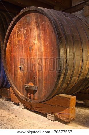 Wine barrels in the ancient warehouse