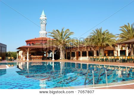 Swimming Pool Near Open-air Restaurant, Antalya, Turkey