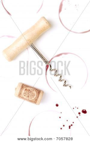 Wine Stains, Corkscrew And Cork