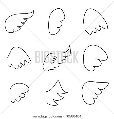 Wings collection. Vector illustration set with angel or bird wing icon isolated on white background
