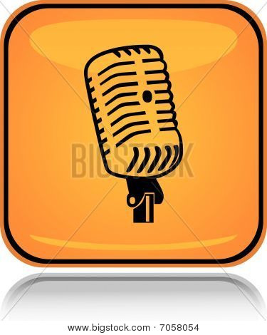 Yellow square icon sound mic with reflection