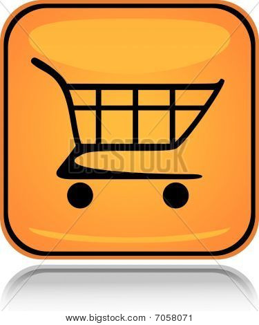 Yellow square icon shopping cart with reflection