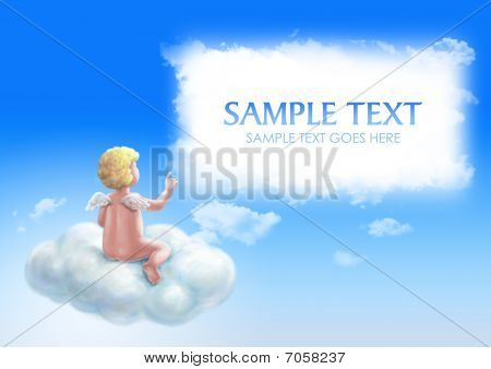 Angel Sitting On The Cloud With Copyspace