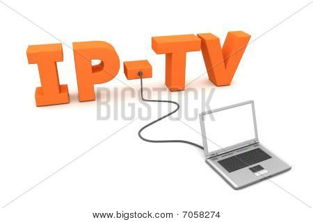 Laptop Wired To Ip-tv - Orange