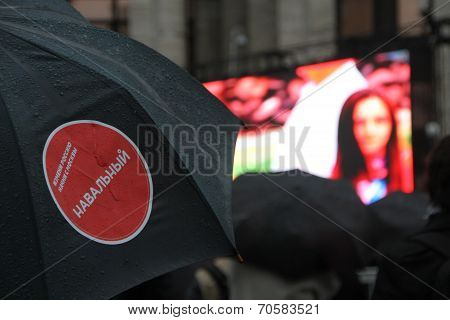 Sticker opposition leader Navalny on the umbrella party election rally