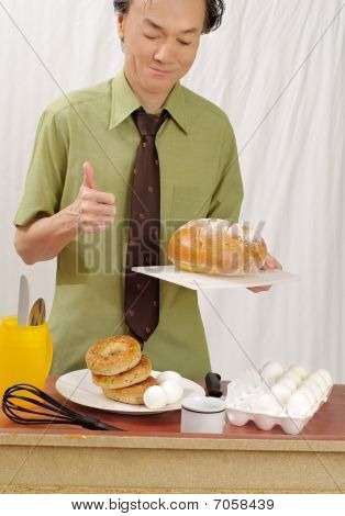 man eating favourite breakfast