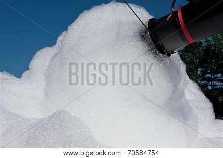 Foam Machine Makes High Volume Of Bubbles At Event