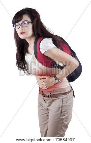 Female Student Having Menstrual Cramps