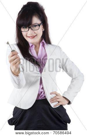 Pretty Woman Giving A Key